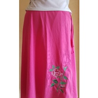 Embroidered Cotton Jersey Wrap Skirt