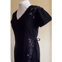Embroidered Cotton Wrap Dress